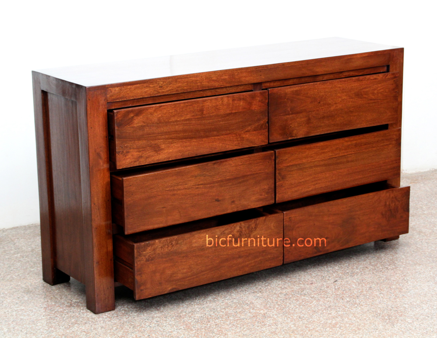 Horizontal Wooden Chest Of 6 Drawers Bedroom Dresser Furniture BIC