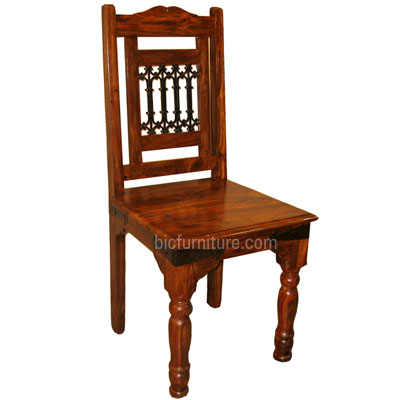 Wooden Chair With Ethnic Back Hardwood Indian Furniture By