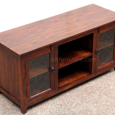 Glass Wood Tv Cabinet Well Designed Smoothly Finished Home Decor