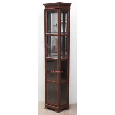 Tall Corner Display Cabinet in Glass  amp  Teak Wood for miscellaneous use