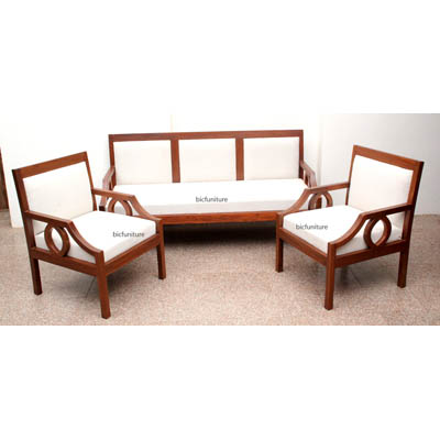 Sleek wooden sofa set with fixed cushion  Handmade teak Furniture