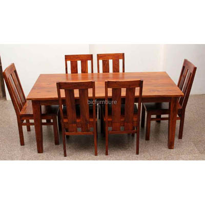Large 6 Seater Wooden Dining Set In Sturdy Construction Bic