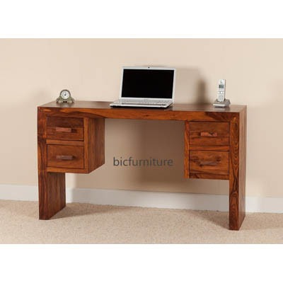Sleek wooden writing table four drawers