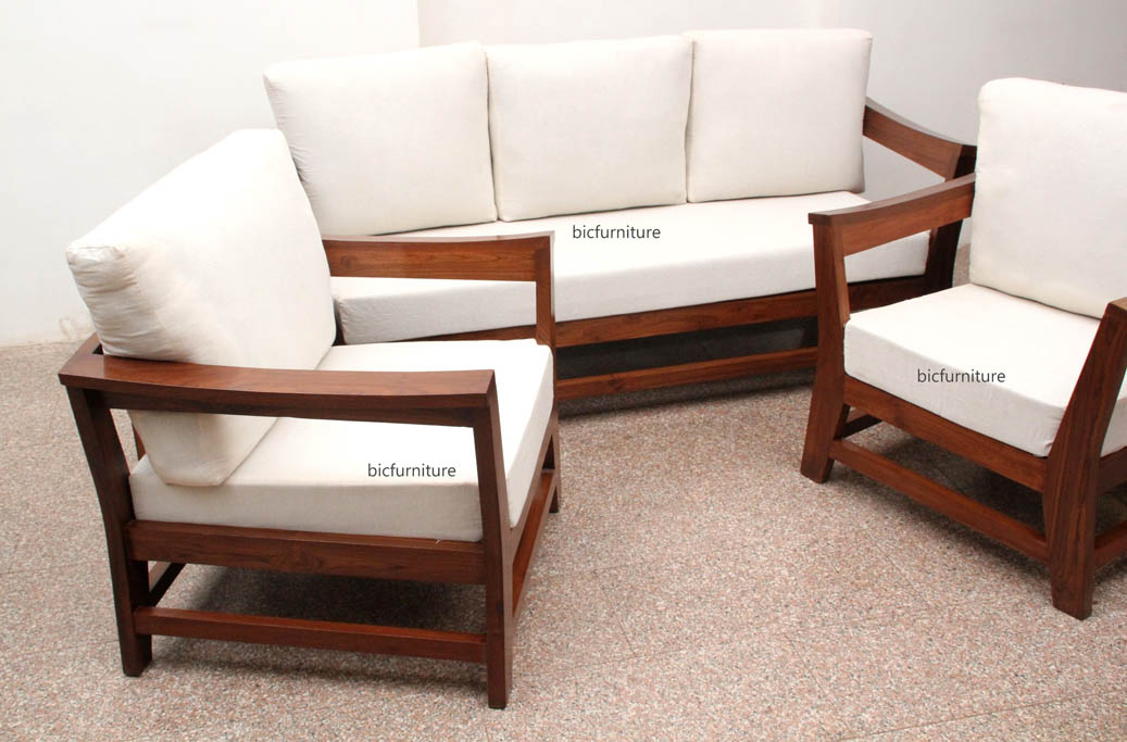 Comfortable Sofa Set in teakwood with lose cushions | customise sofas