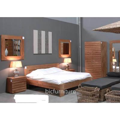 Oak finish teak Bedroom Set   Quality Hardwood Home Furniture by BIC