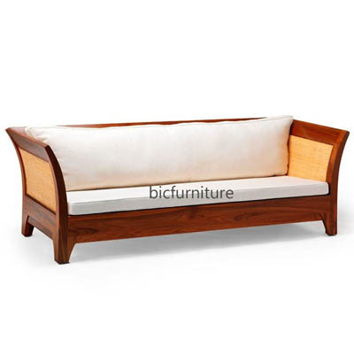 Handmade teakwood sofa with cane available in full sofa set by bic