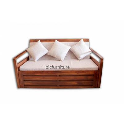 Elegant Sofa Cum Bed In Teak Wood In 6 X 5 Size