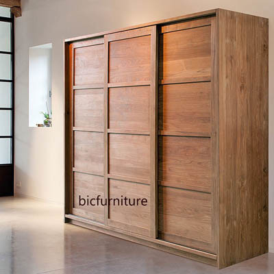 Teakwood sliding three door wardrobe cupboard (4)