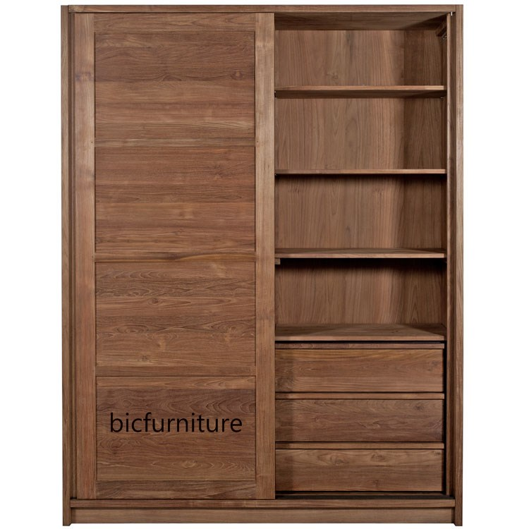 Sliding Door Teakwood Wardrobe   Quality Contemporary Home Furniture