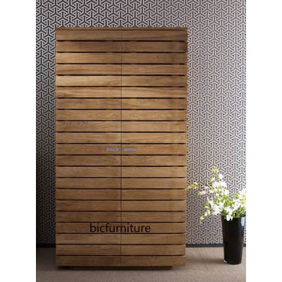 Teakwood wooden strip wardrobe (1)