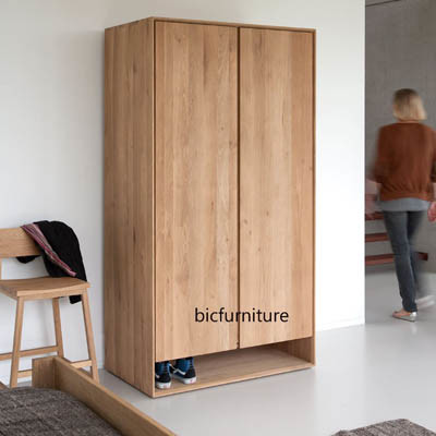 Wooden straight line door wardrobe (1)