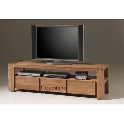 3 Drawer Stylish Tv Cabinet Made Of Teakwood Bic Entertainment Units