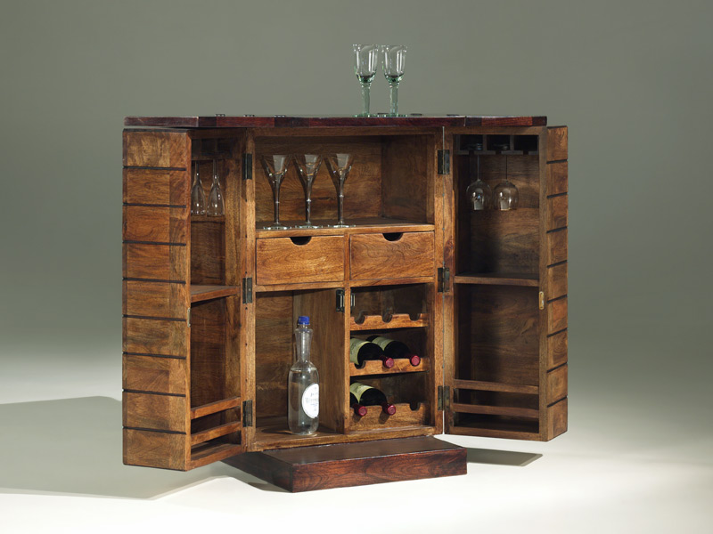 Buy Wooden Block Bar Cabinet With Folding Counter At Bic