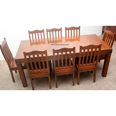 8 Seater Wooden Dining Set In Solid Teak Indian Design Furniture
