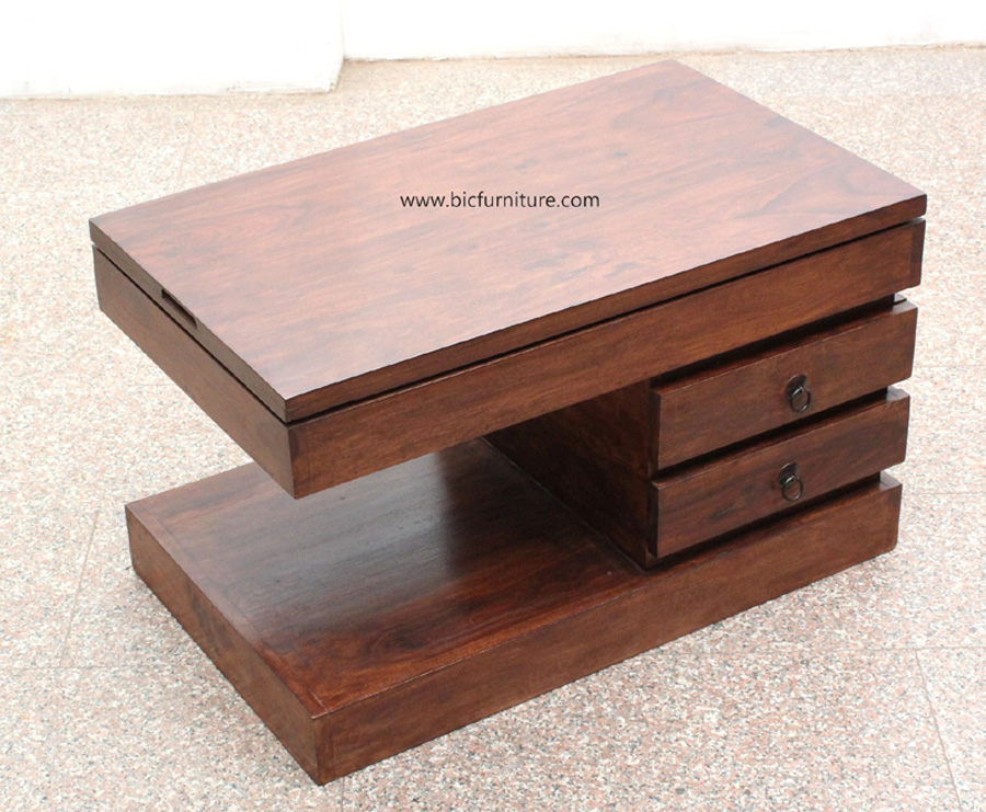 Sheesham wood coffee table with 4 drawers