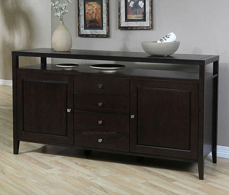 living room sideboard with serving top in wenge finish