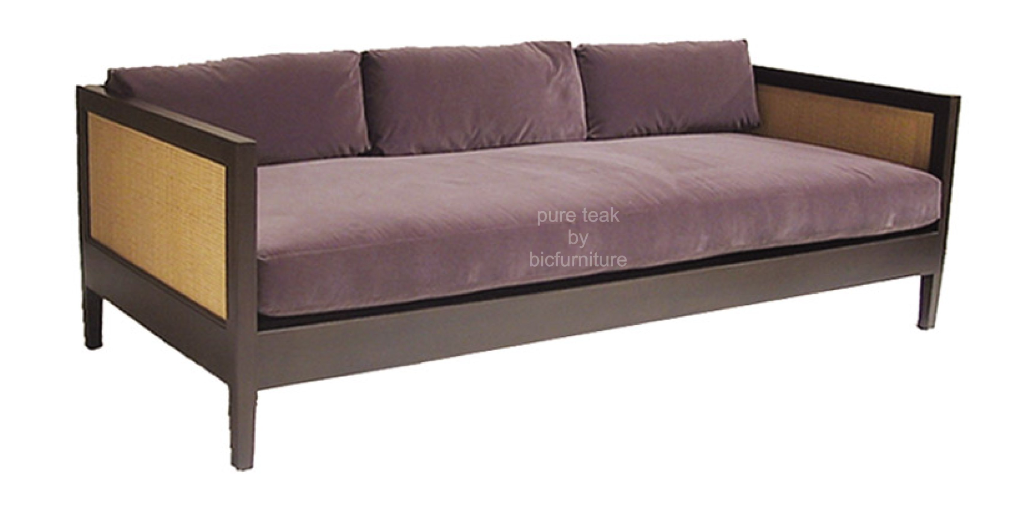 Marvelous photograph of Comfortable teakwood day bed with cane within handles with #8D6D3E color and 3408x1731 pixels