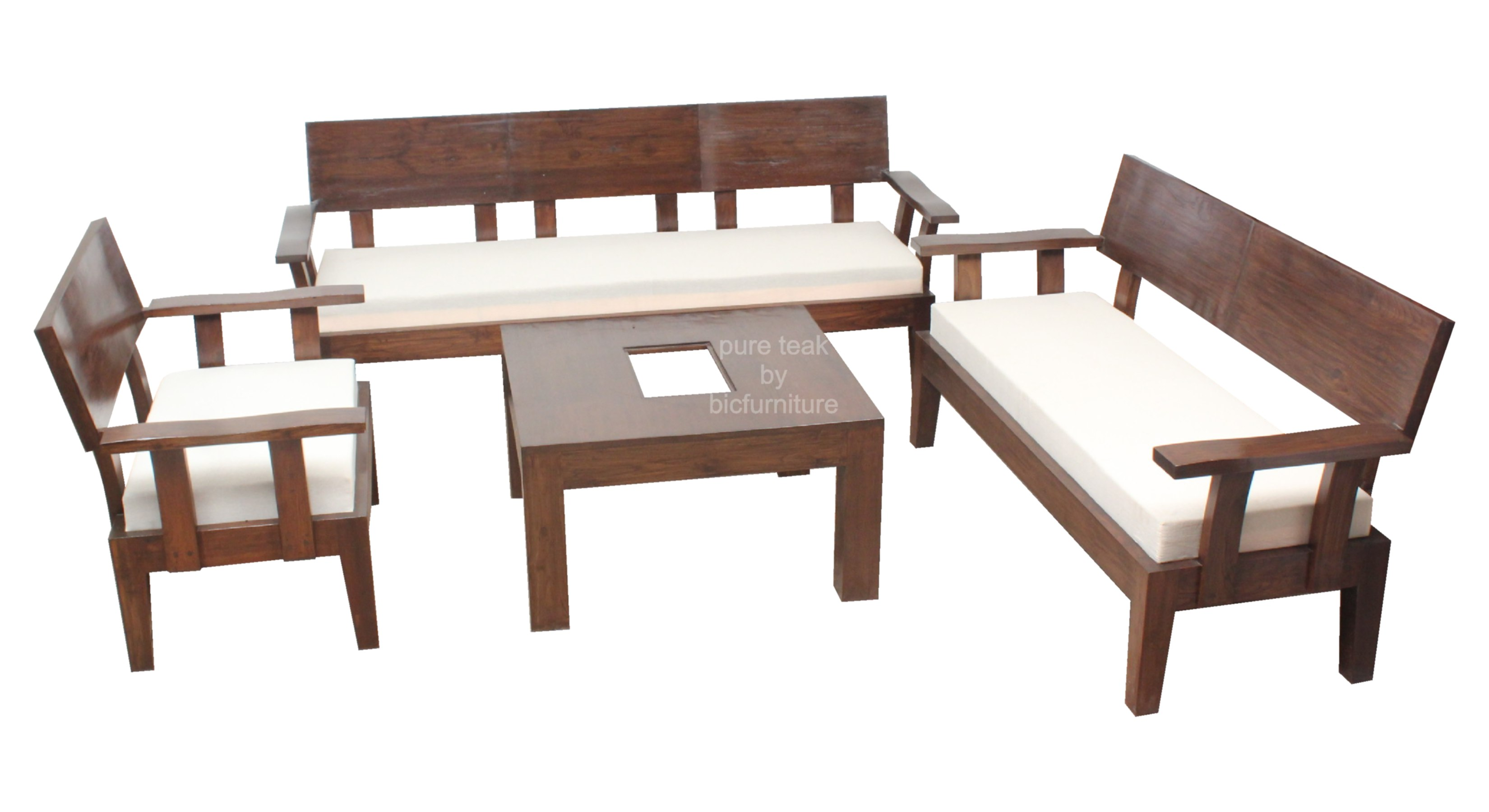 Exclusive Trendy Sofa Set With Centre Table In Teakwood By Bic ~ Sofa Set With Center Table