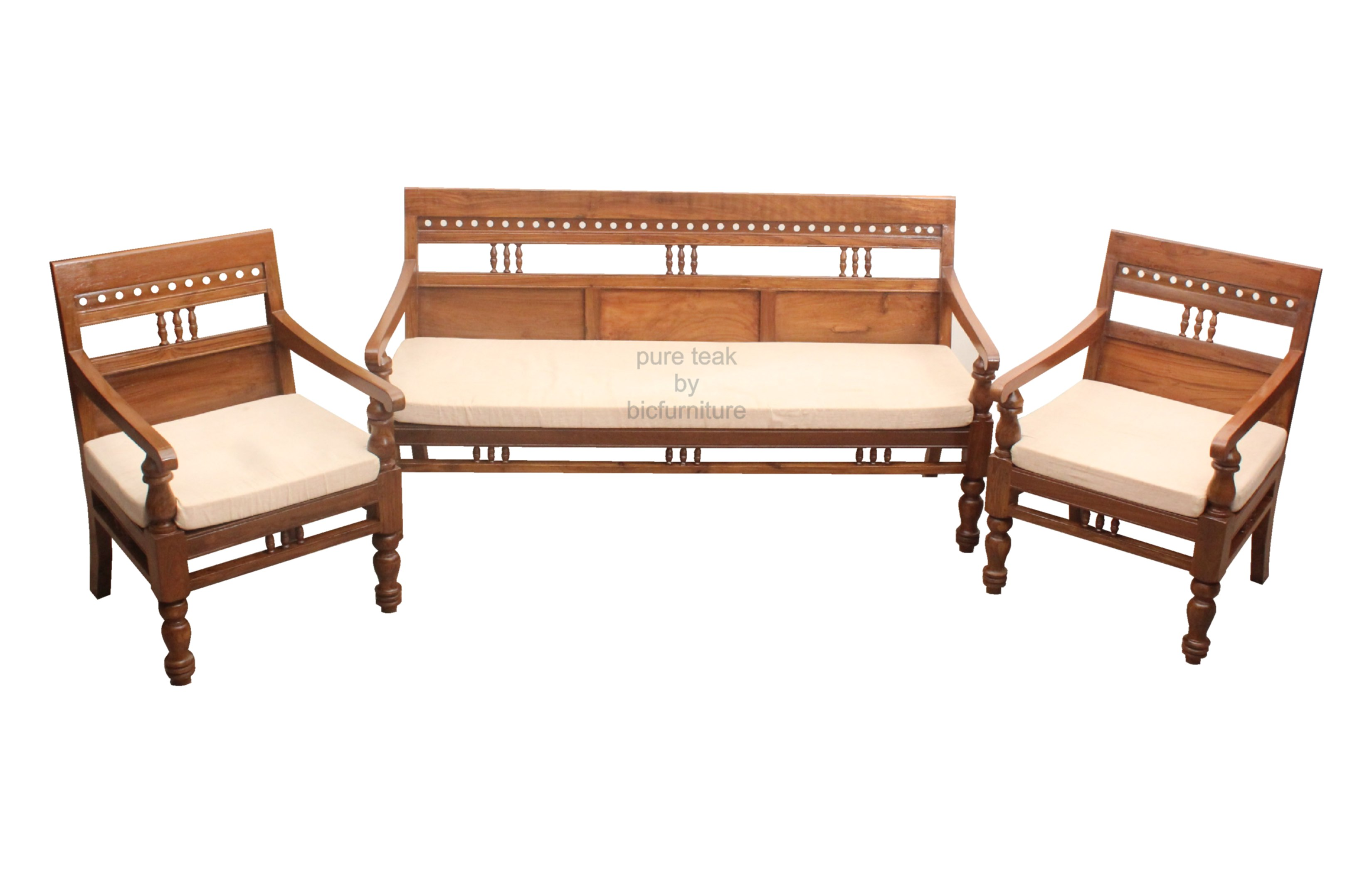 Carved Teak Sofa Set In Elegant Design For Your Living Room ~ Wooden Sofa Sets For Living Room