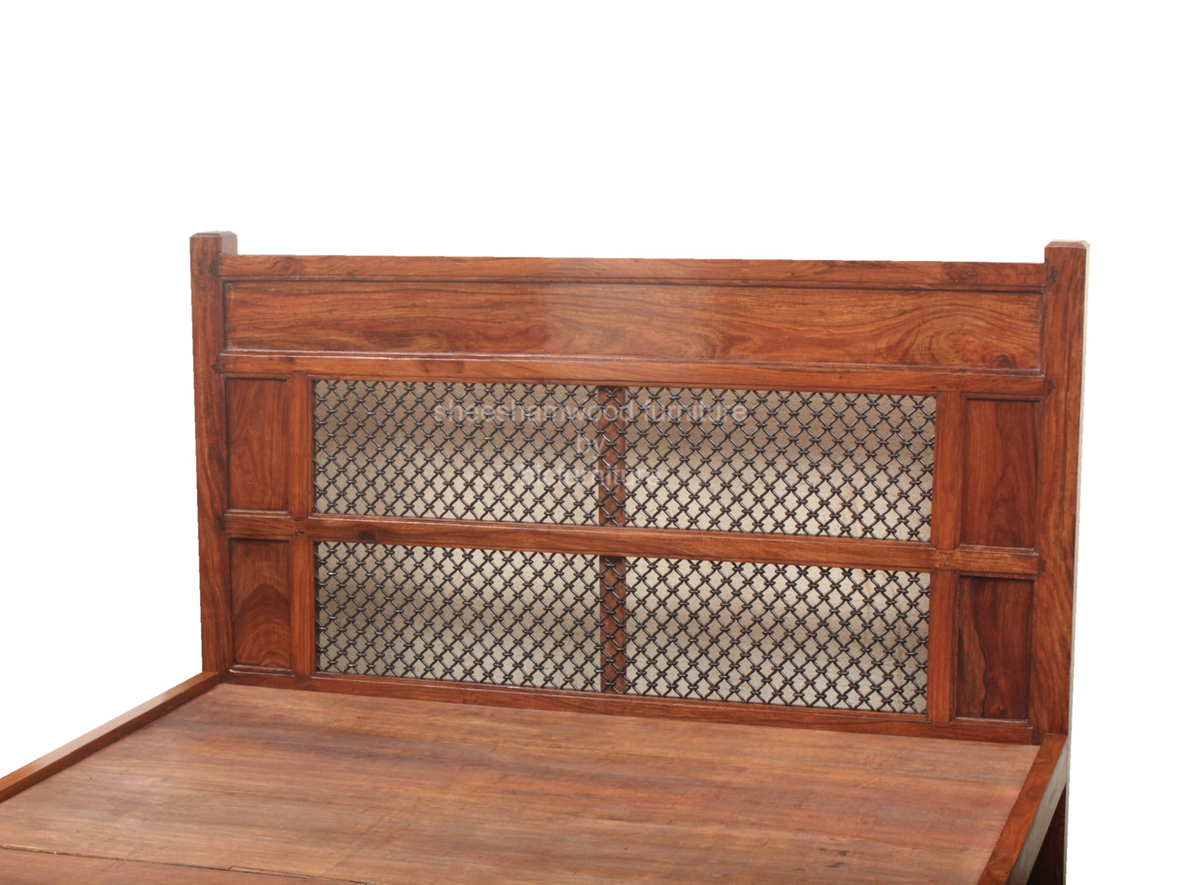 Indian wooden furniture bed - Solid_wood_wood__wrought_iron_jali_double_bed