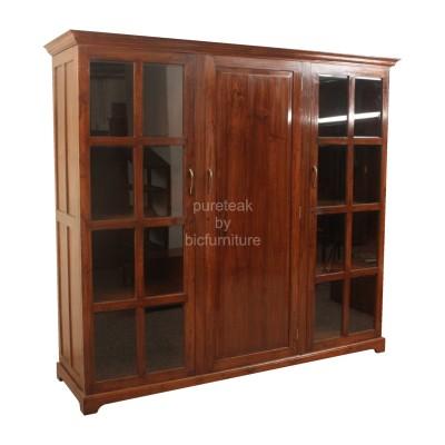 Teak_wood_3_door_wardrobe_with_centre_wooden_panel