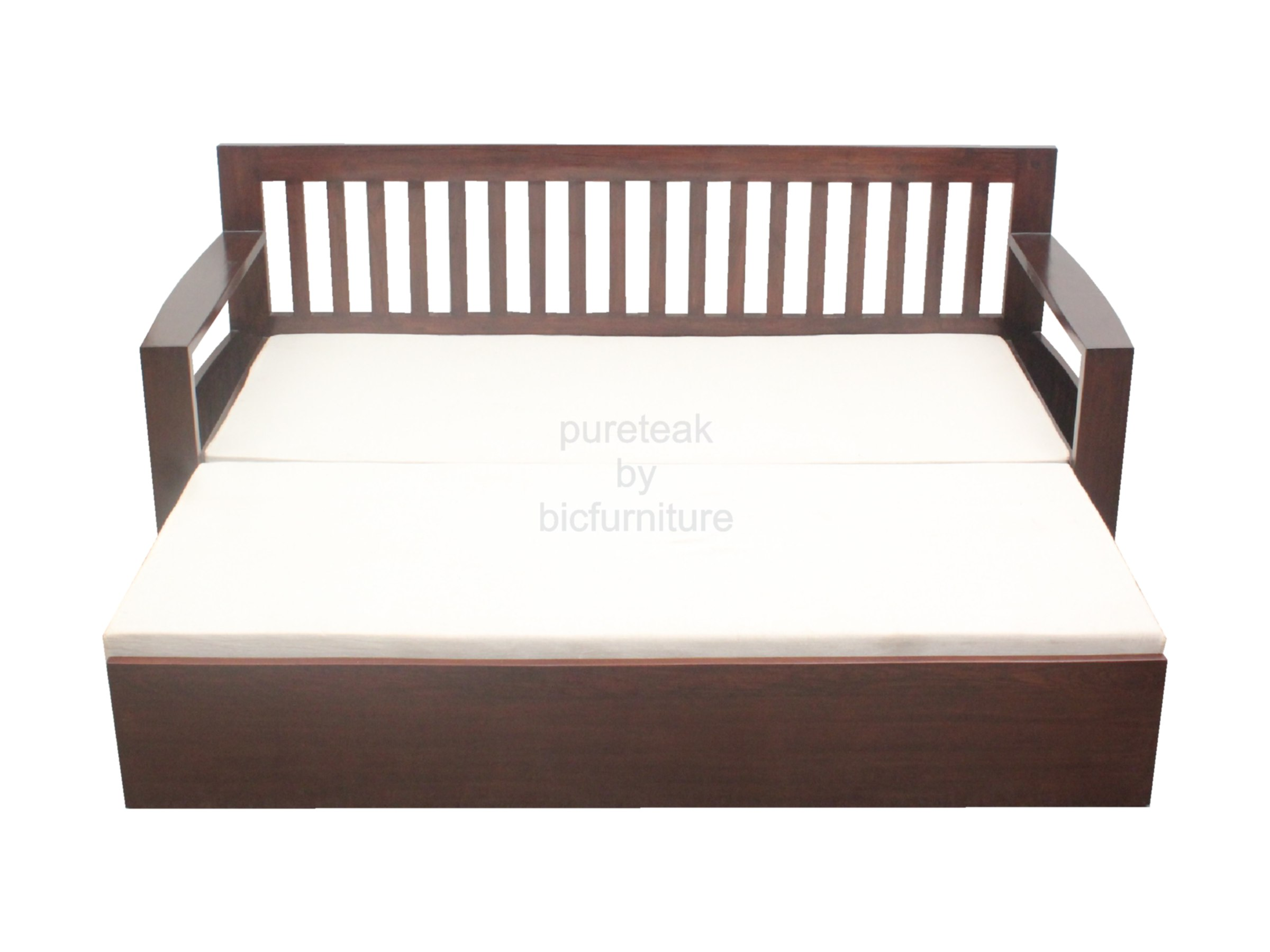 Teak wood sofa cum bed with storage SFB 12 Details BIC Furniture