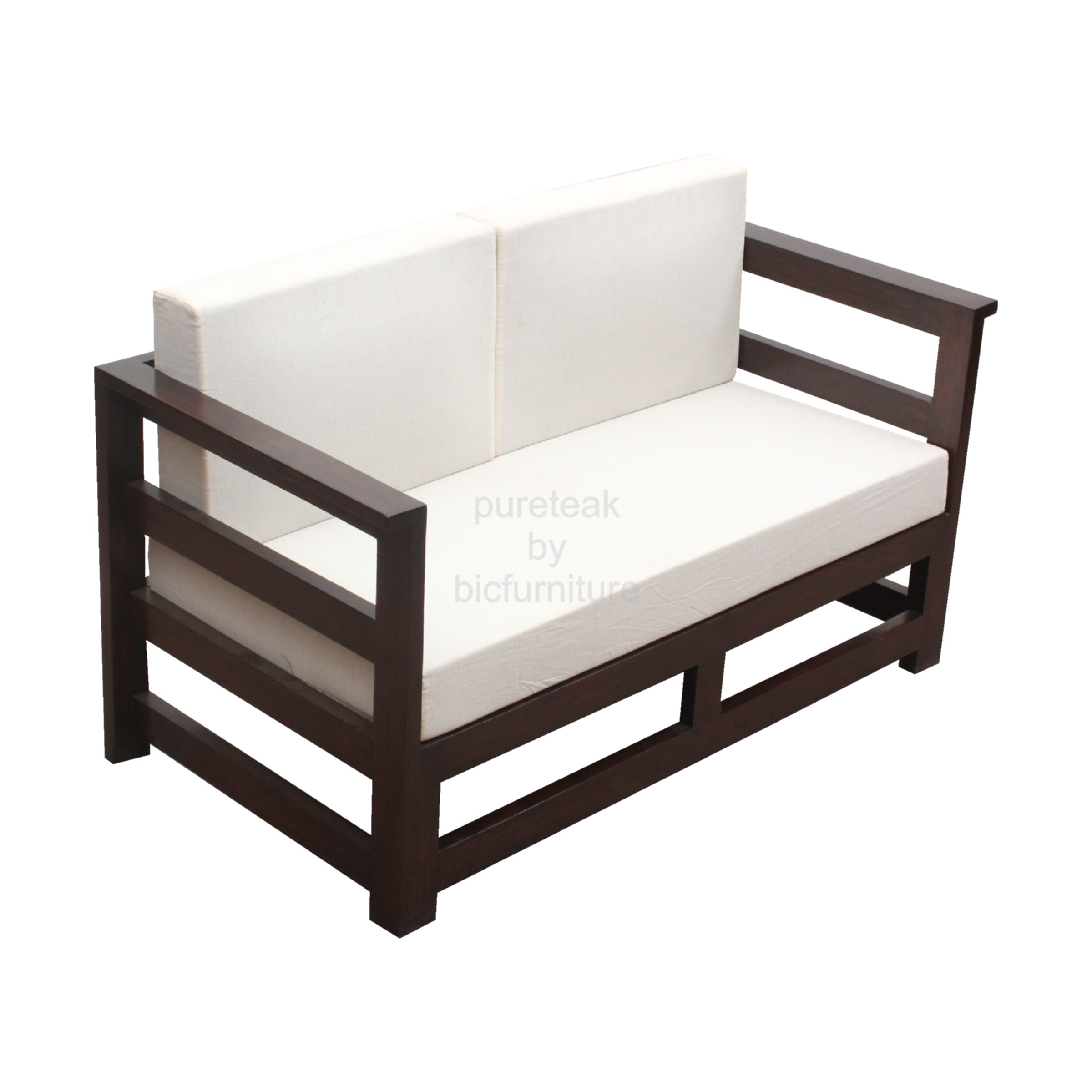 Teak Wood Two Seater Sofa Ws 32