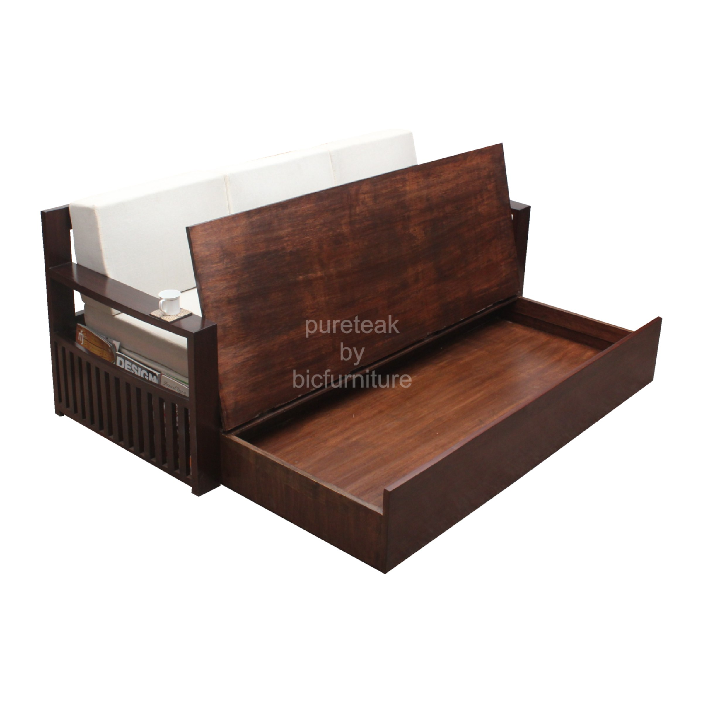 Contemporary_storage_teak_wood_sofa_cum_bed.  Contemporary_storage_teak_wood_sofa_cum_bed_dark_finish