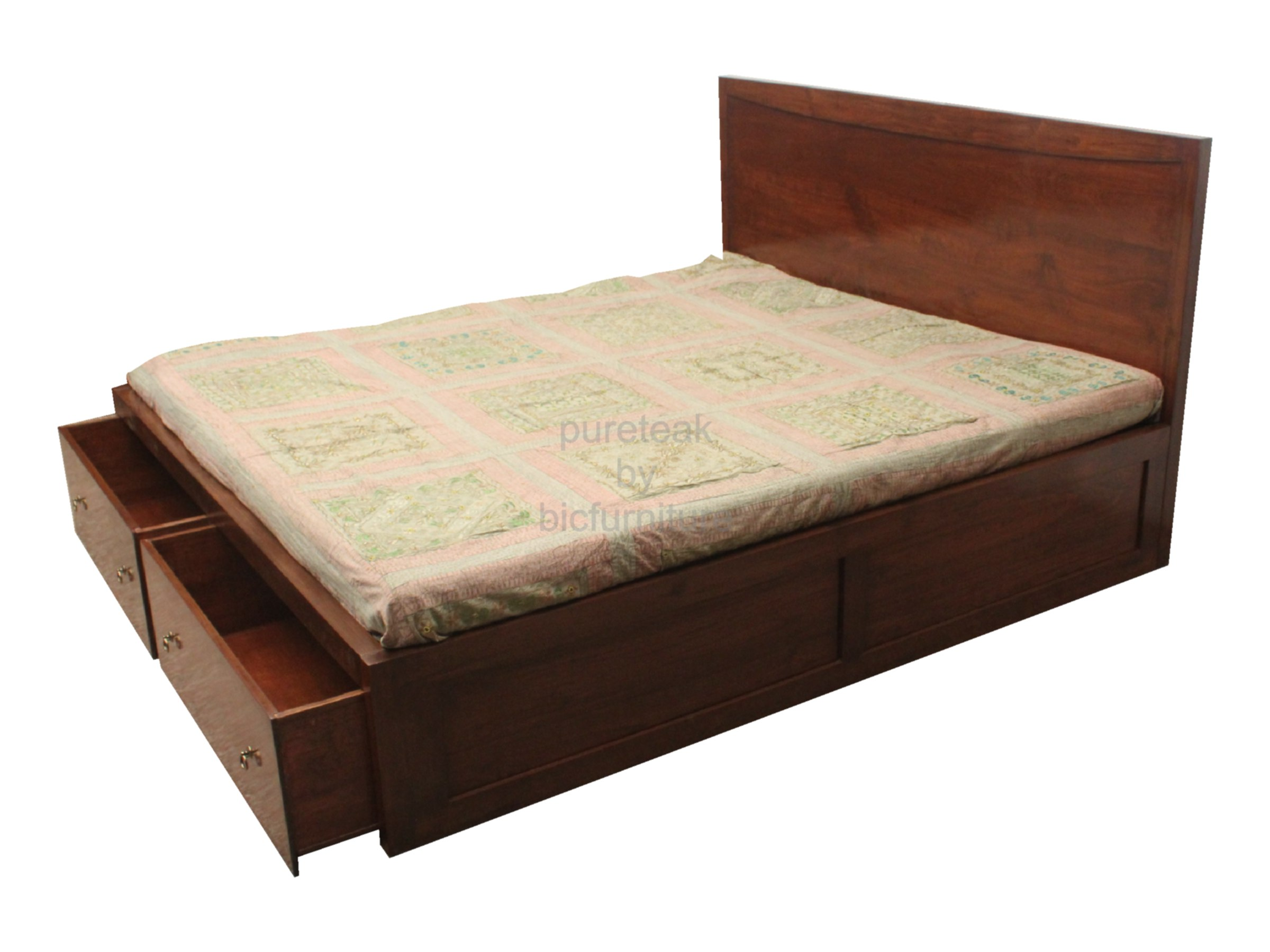 double bed in teak wood