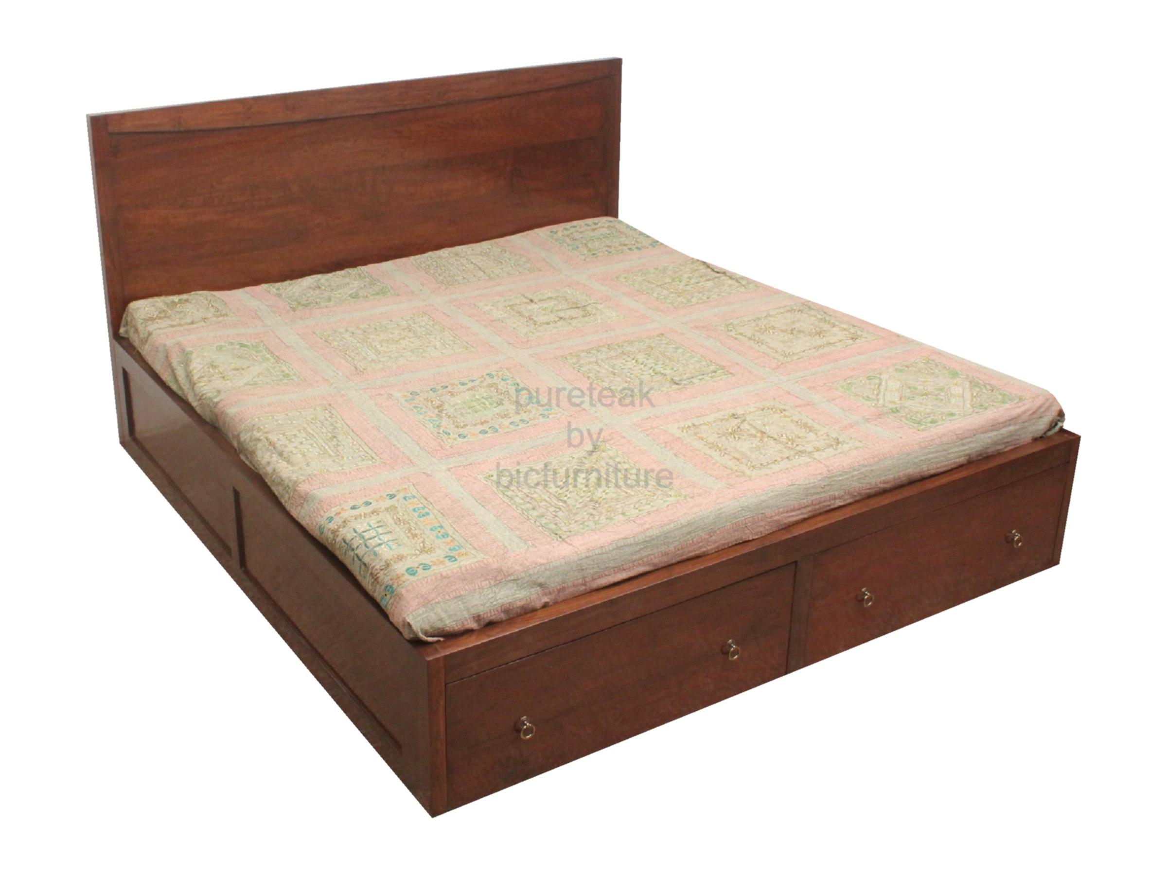 Double bed in teak wood (BED 34) Details  BIC Furniture India