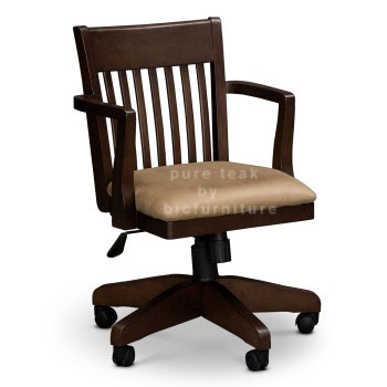 Varnished-Brown-Swivel-Desk-Chairs-Slat-Chair-Backrest-Beige-Upholstery-Chair-Cushion-Wooden-Armrests-350x350 copy