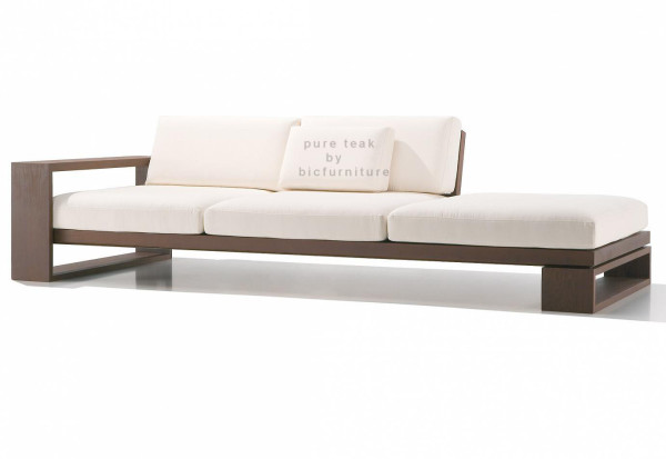 Simple Modern White Sofa Design With Wooden Couch
