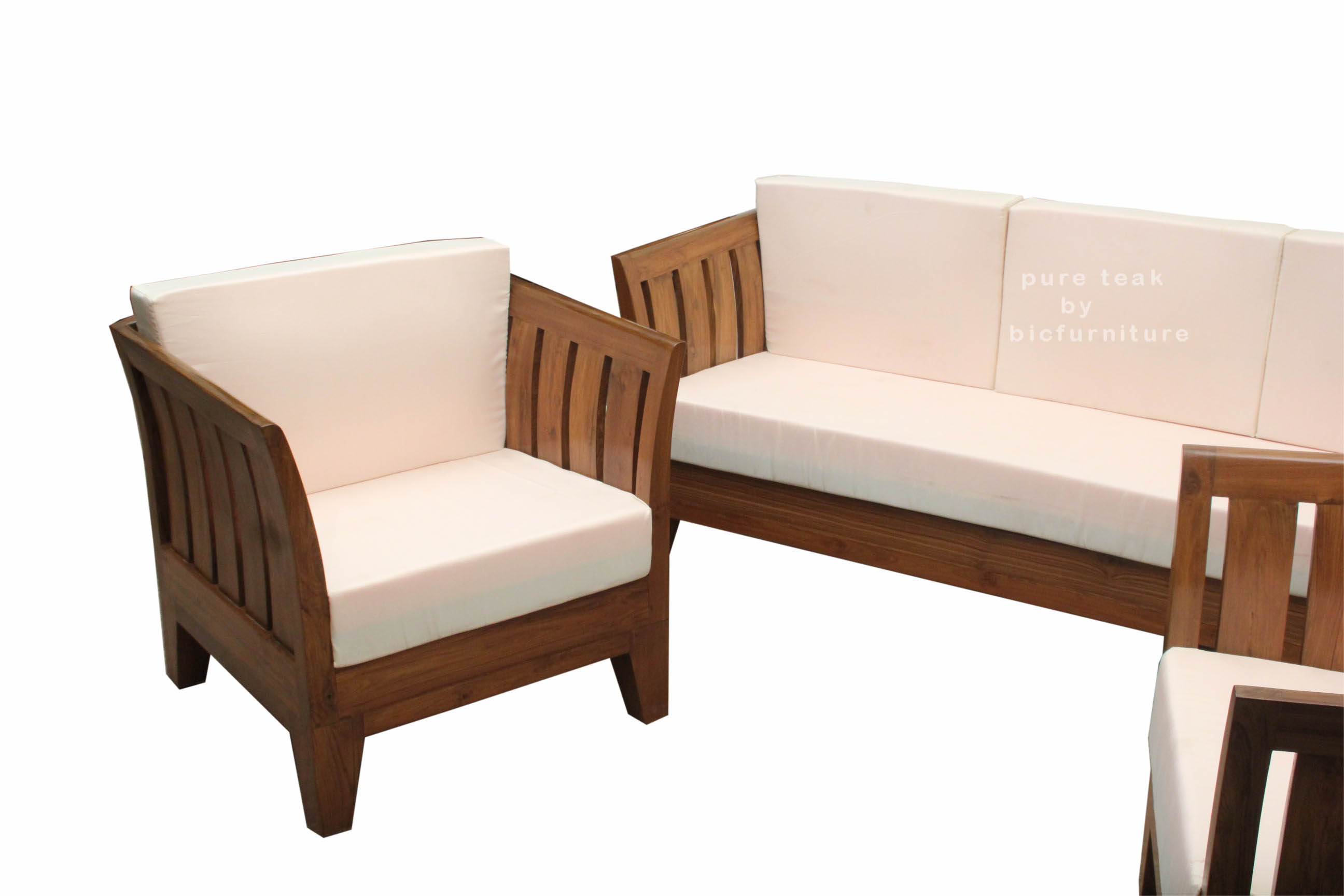 Comfortable Sofa Teak Natural Finish Set Single Seater Mumbaikar