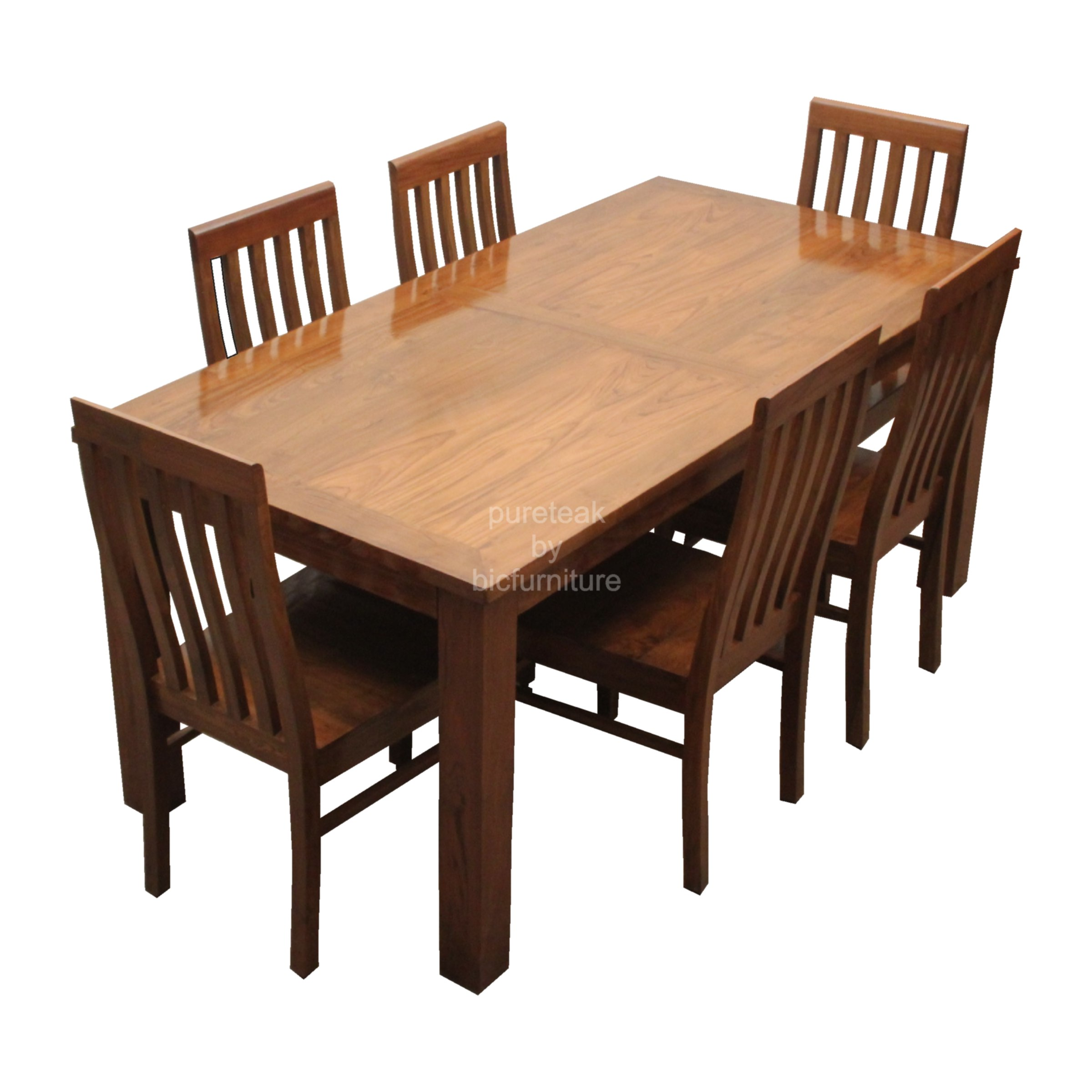 Natural Finish 6 Seater Dining Set In Teakwood