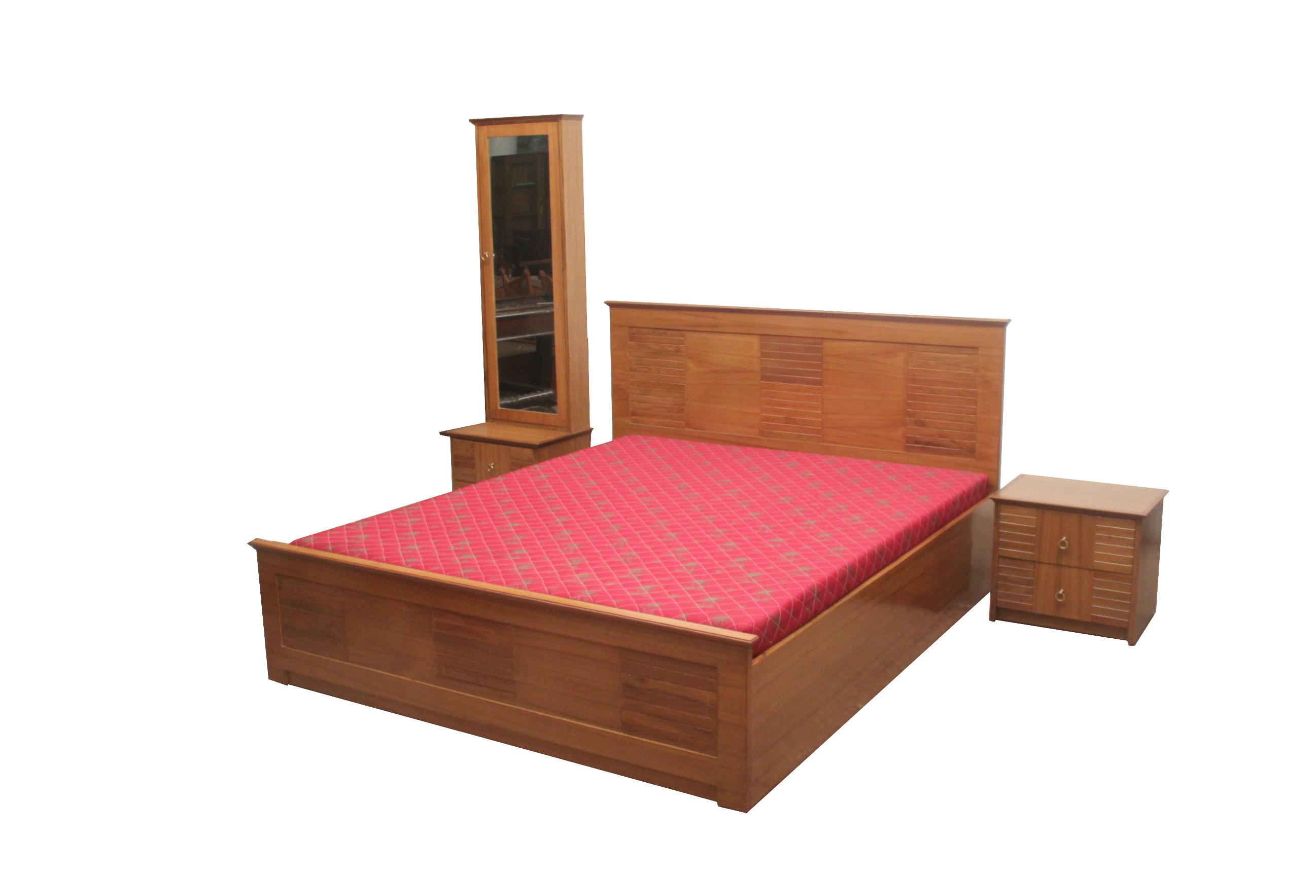 Indian wooden furniture bed - Bedset_in_teakwood_veneer Plywood