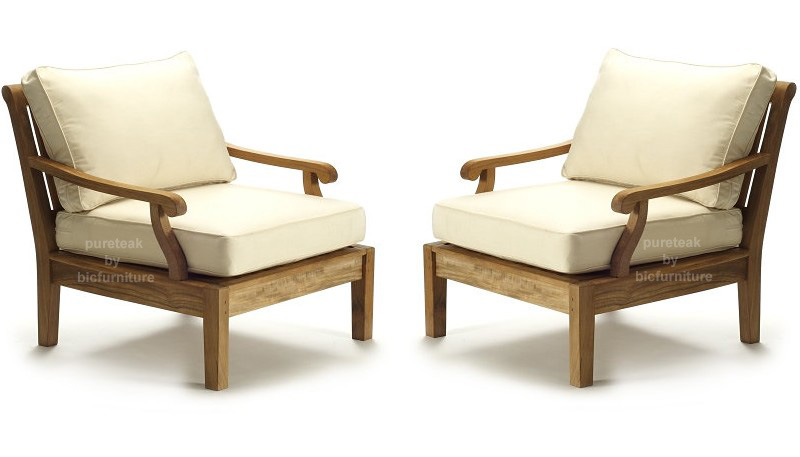 Teakwood Chairs Made With Round Arms On Both Sides