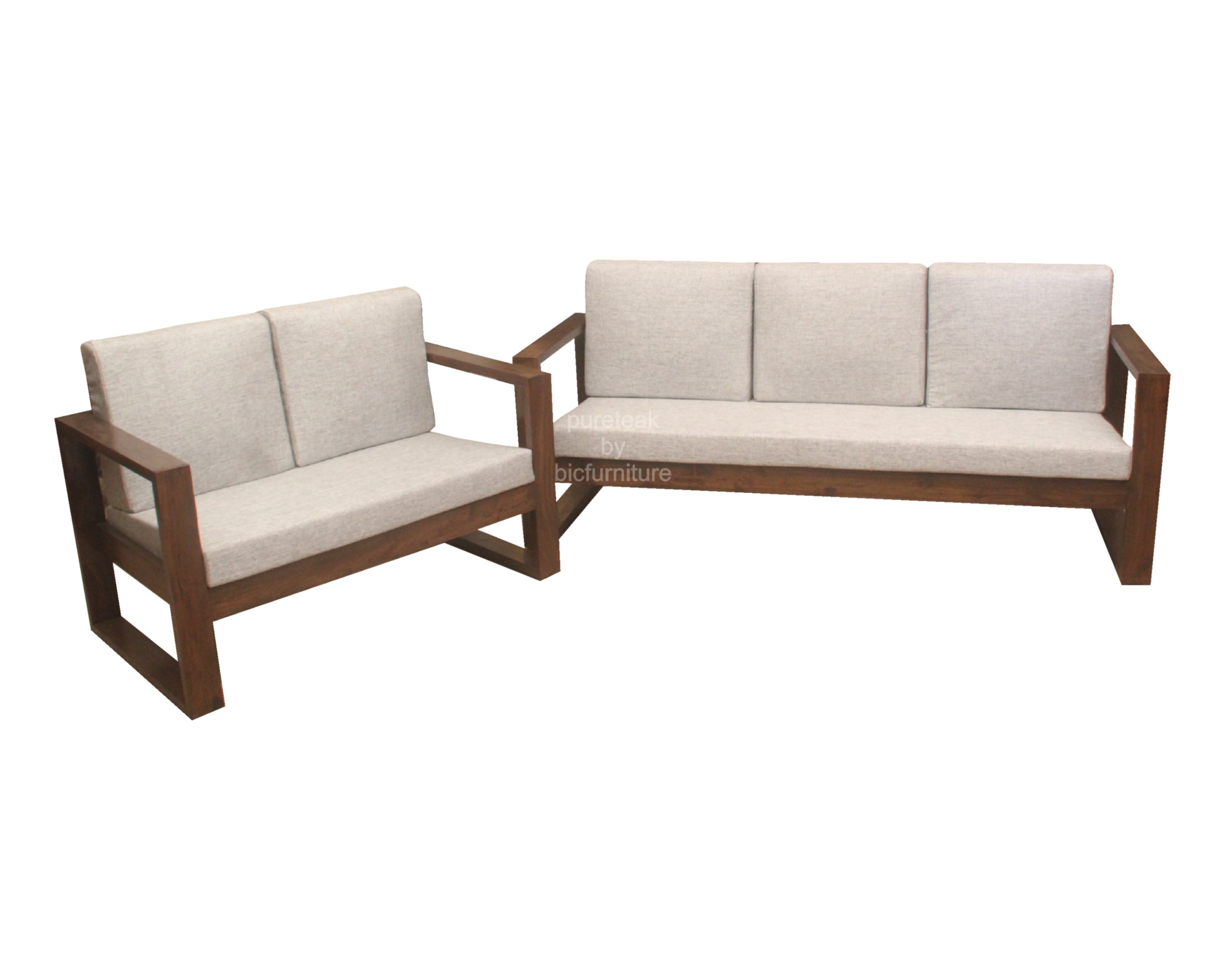 Front_View_Of_3_seater_Sofa_In_Teak. Sofa_With_Simple_Strip_In_Square_Form.  Teak_Wood_2_Seater_Sofa_Front_View. Teak_Wood_2_Seater_Sofa_In_Square_Design