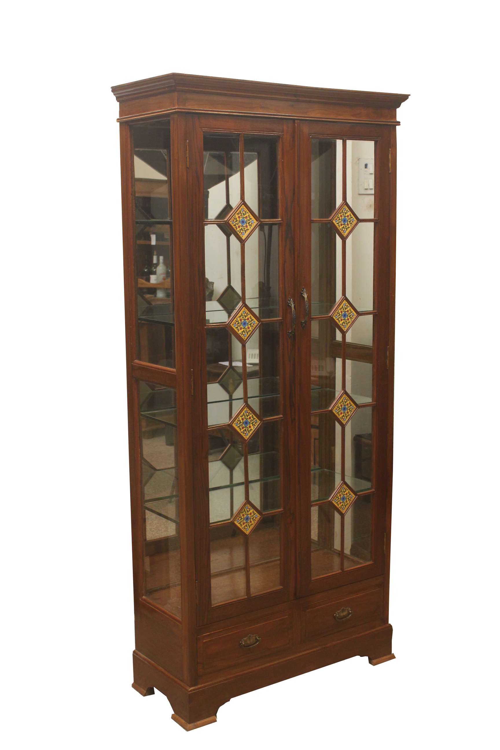 Dc90 Wooden Showcase Display Cabinet With Decorated Tiles Details