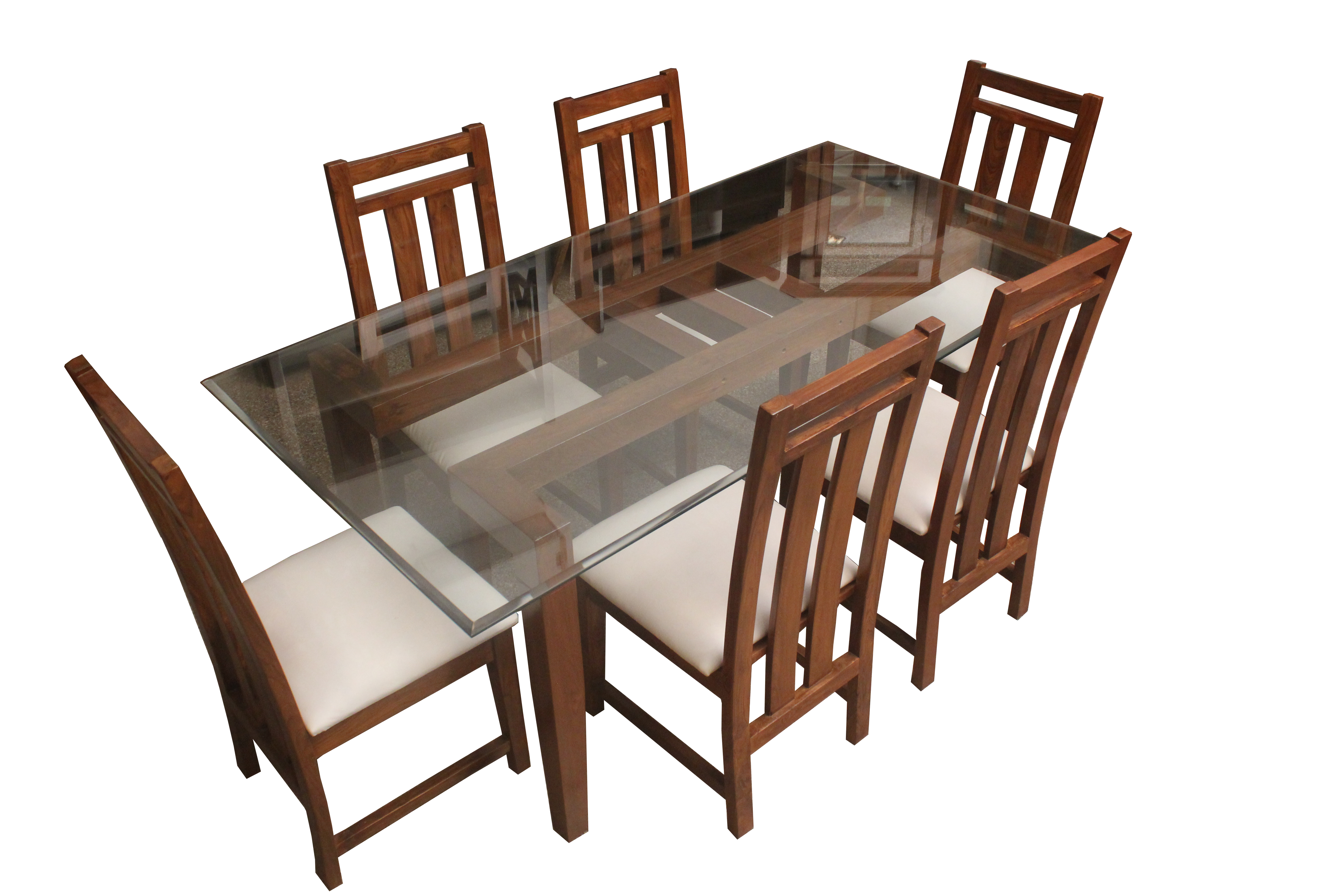 Twd 24 Glass Top 6 Seater Wooden Dinings Set Details Bic Furniture