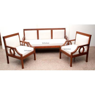 Sleek Wooden Sofa Set With Fixed Cushion Handmade Teak Furniture