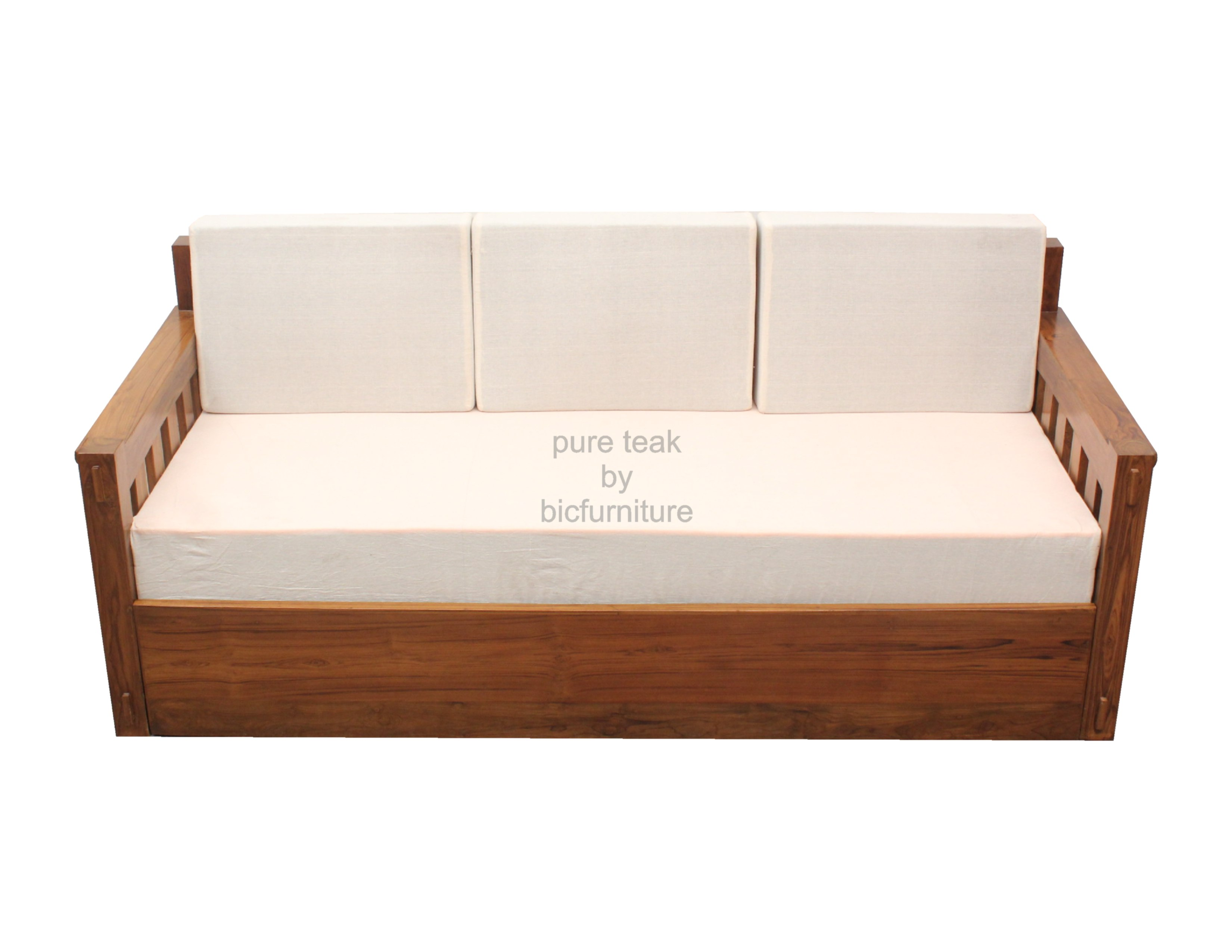 Classic style pull out sofa cum bed made in solid teak