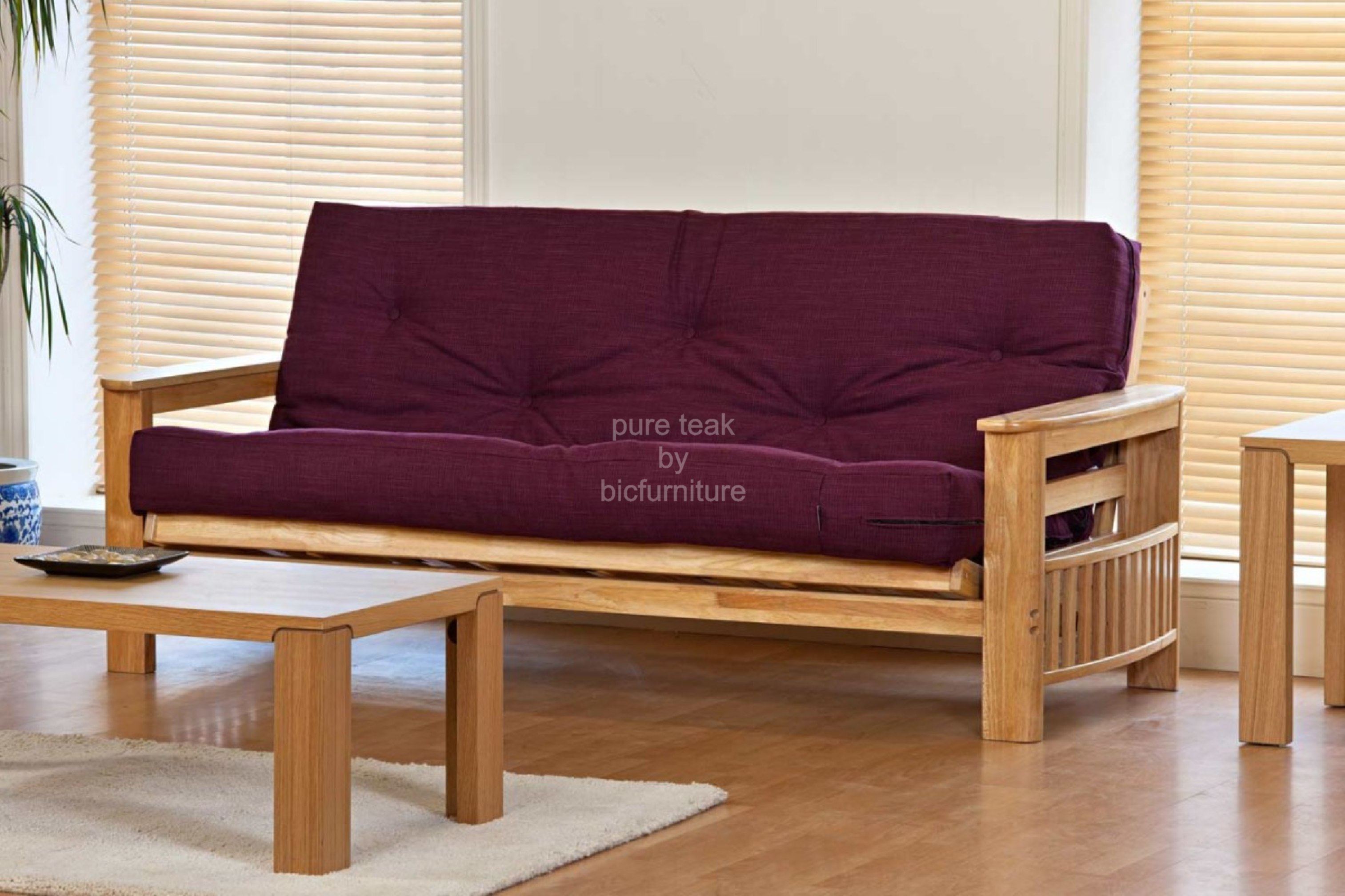 Open style sofa cum bed made in teakwood