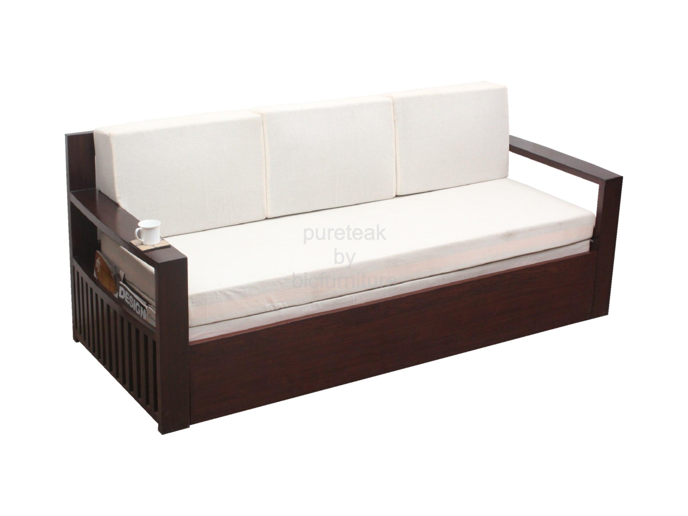 Teak wood sofa cum bed with storage SFB 12 Details