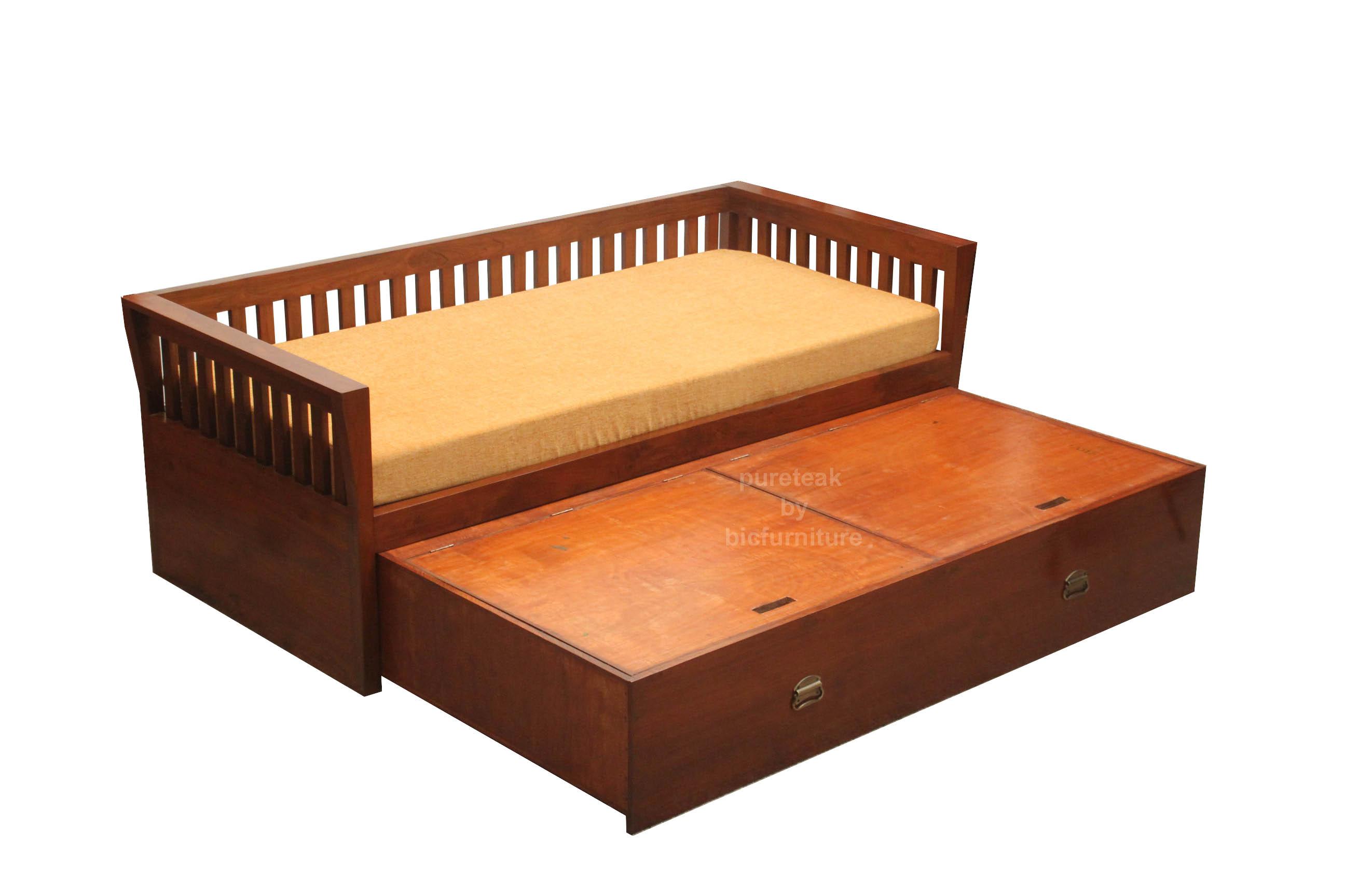 Storage sofa bed & day bed in teak wood