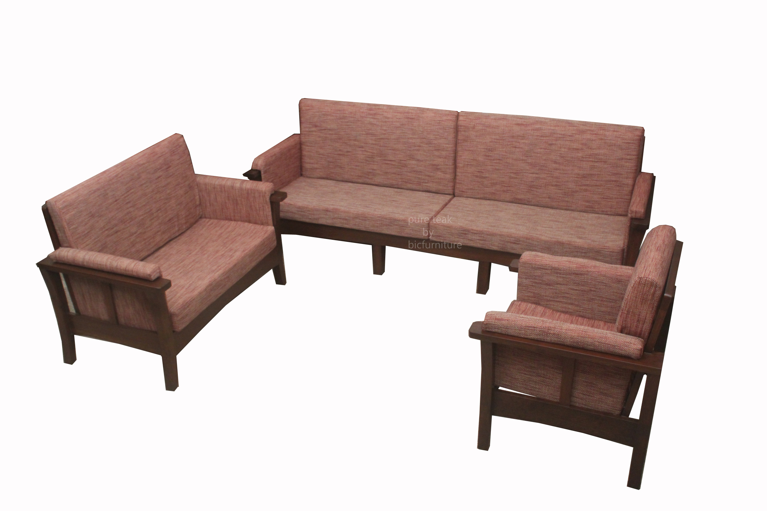 Stylish Teakwood Sofa Set In A Set Of 3 With Cushioned Handles
